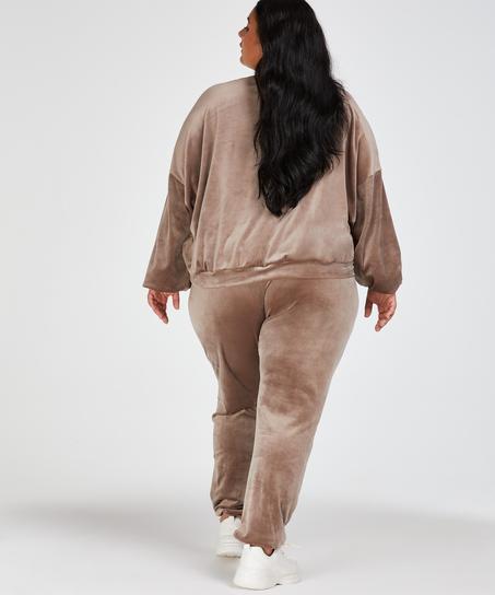 Velour Lurex Jogging Bottoms, Brown
