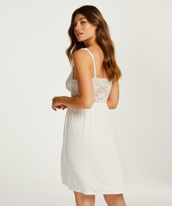 Modal Lace Slip Dress, White, main