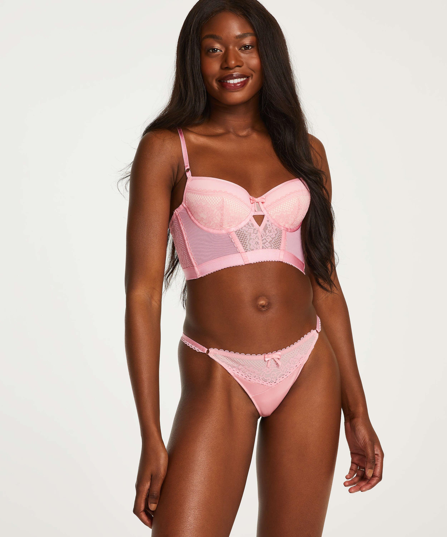 Malika padded longline underwired bra, Pink, main