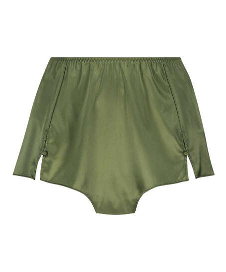Amelia Tap Satin Shorts, Green