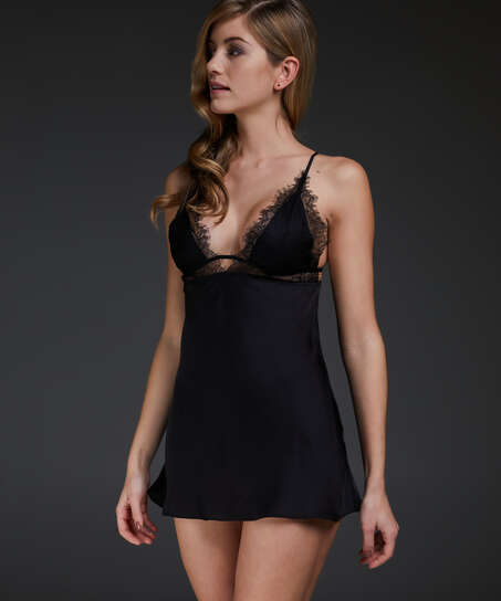 Satin Holly slip dress, Black