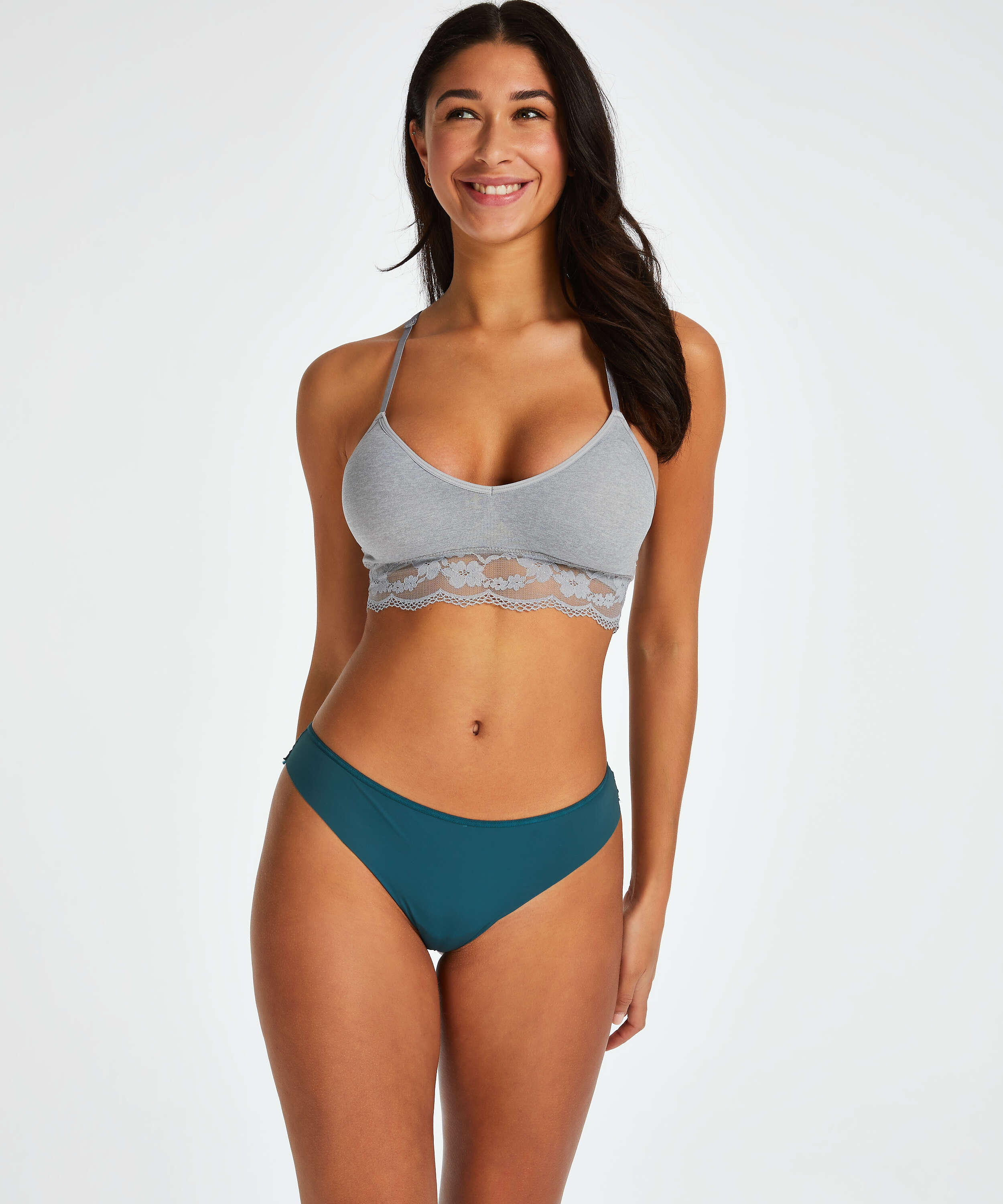 Lace Back Invisible Thong, Blue, main