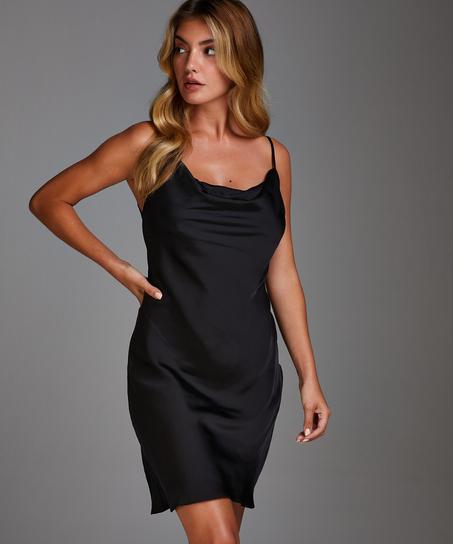 Amelia Satin Slip Dress, Black