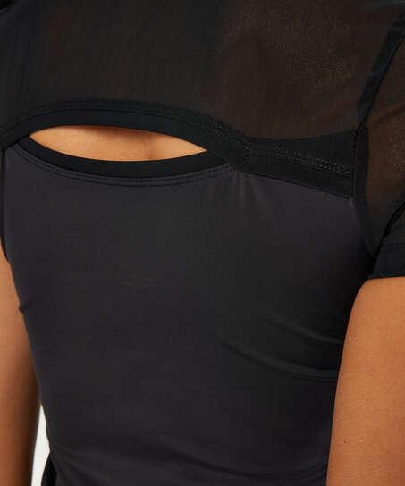 HKMX Open Back Sports Shirt, Black
