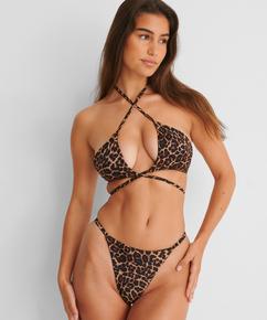 Animal high-cut string bikini bottoms HKM x NA-KD, Brown