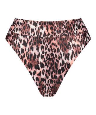 Leopard high-cut bikini bottoms, Black