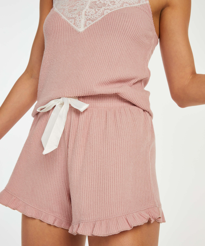 Brushed Rib Lace shorts, Pink, main