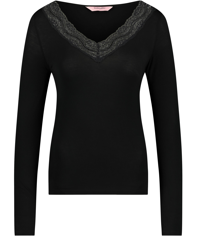 Jersey Long-sleeved Pyjama Top, Black, main