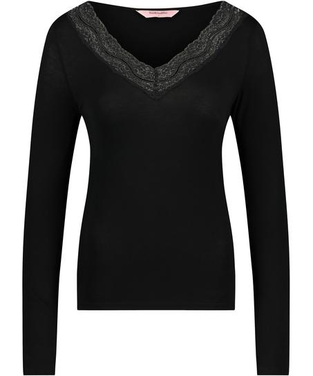 Jersey Long-sleeved Pyjama Top, Black
