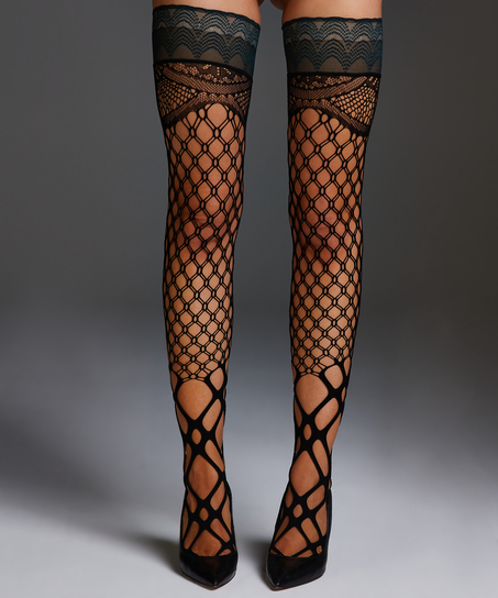 Private Fishnet hold-ups Mix, Green