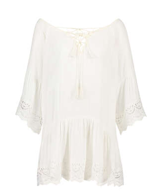Lace Trim tunic, White