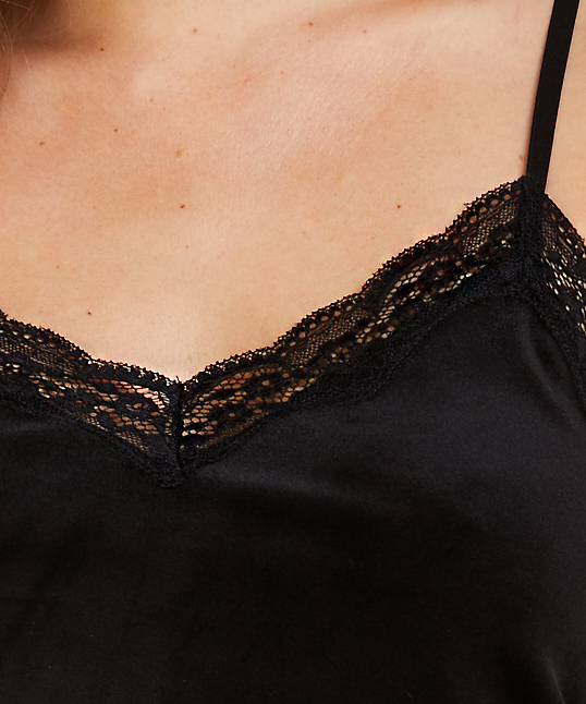 Velvet lace cami, Black, main