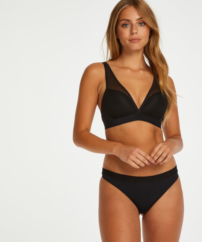 Mesh Padded non-underwired bra, Black, main