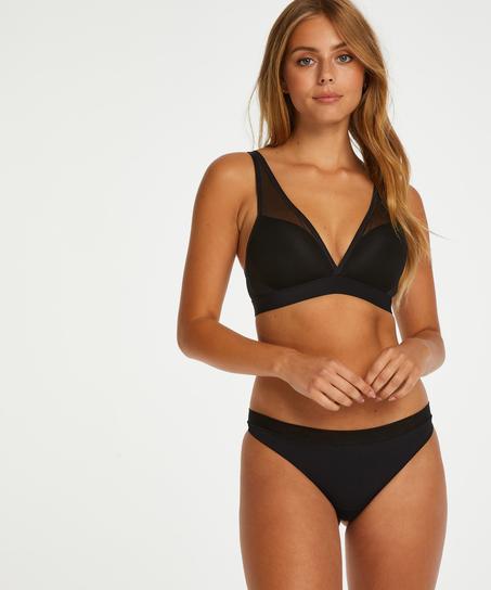 Mesh Padded non-underwired bra, Black