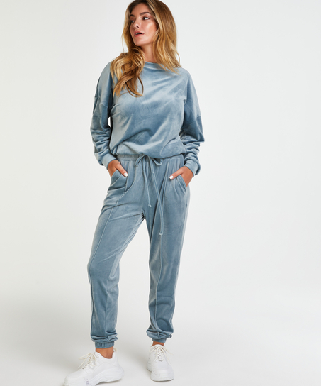 Velour Jogging Pants Pin-tucked, Blue