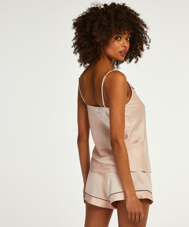 Satin Lace Pyjama Shorts, Pink, main