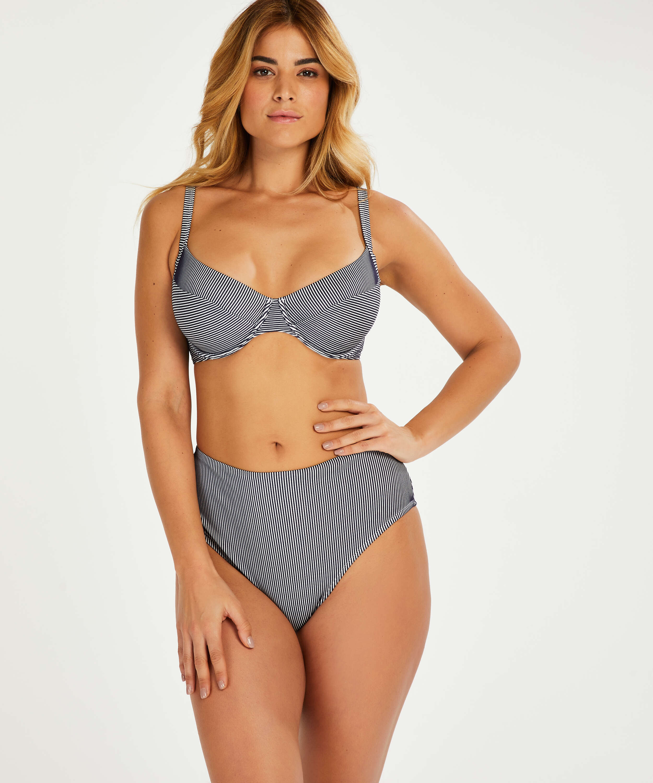 Ruffle non-padded underwired bikini top, Blue, main