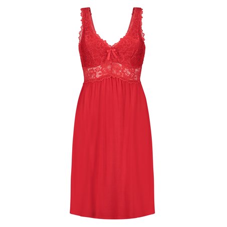 Nora Lace Slip Dress, Red