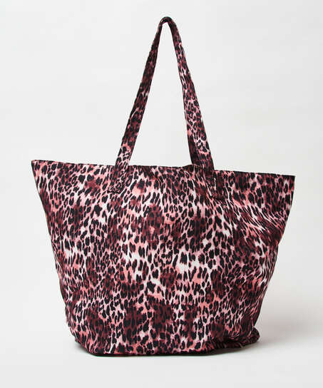 Leopard beach bag, Brown