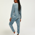 Tall Velour Jogging Pants Pin-tucked, Blue
