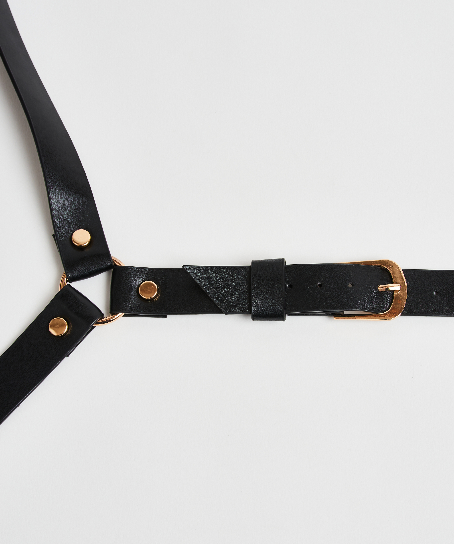 Private Body Harness Choker, Black, main