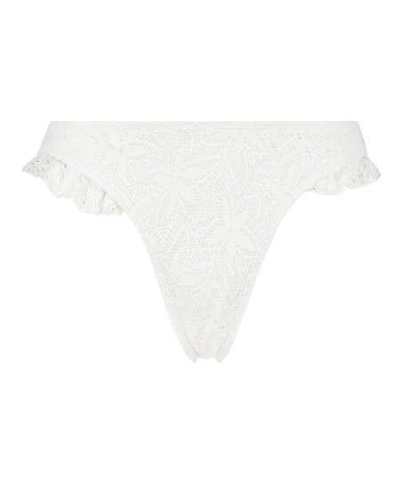 Etta Crochet high leg bikini bottom, White