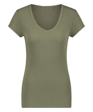 Short sleeve rib pyjama top., Green