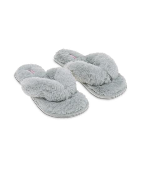 Fake Fur Slippers, Grey