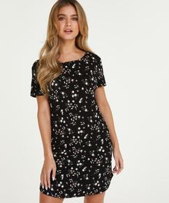 Flower round-neck nightshirt, Black