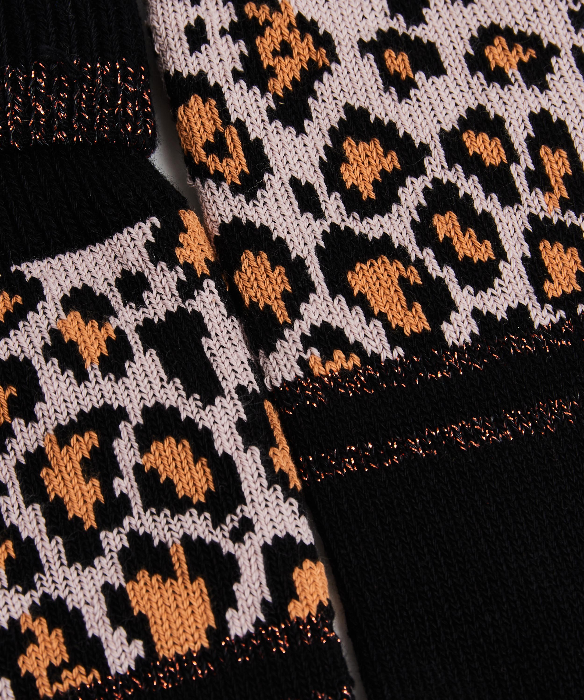Leopard print socks, Black, main