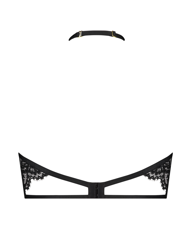 Eve Non-Padded Underwired Bra halter neck, Black, main
