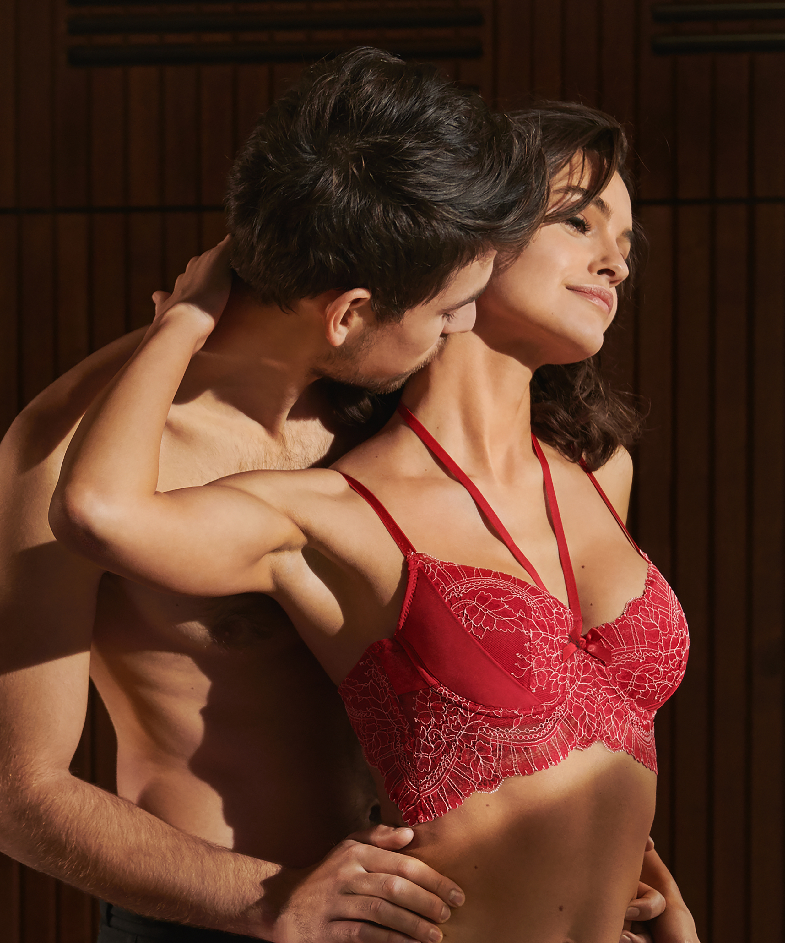 Coco Padded Longline Underwired Bra, Red, main