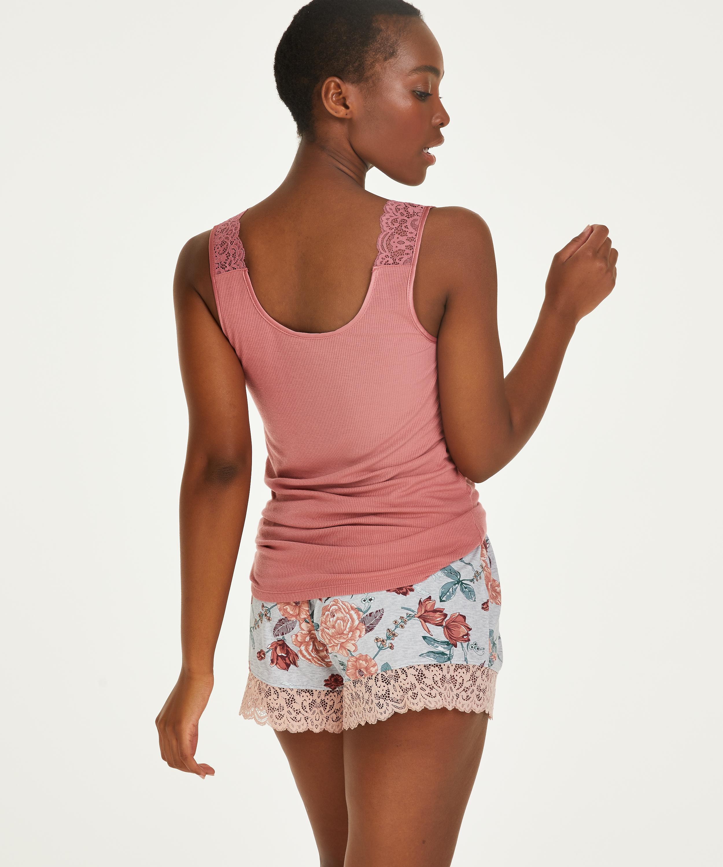 Ribbed Lace Singlet, Pink, main