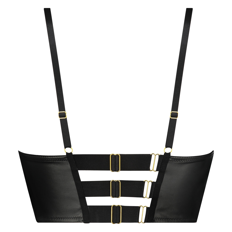 Talia Padded Longline Underwired Bra Cup E +, Black, main
