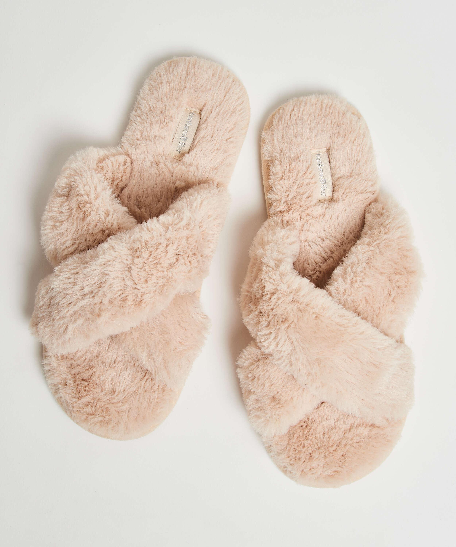 Fake Fur Slippers, Beige, main