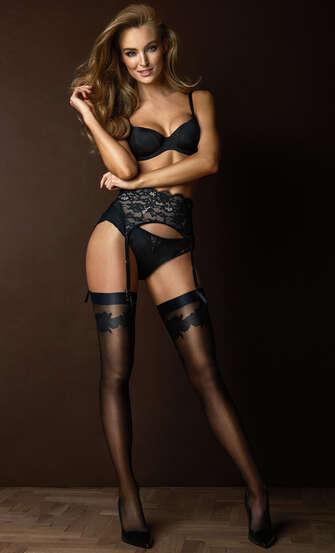 Noir satin top stockings, Black