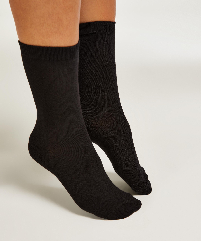 2 Pairs Cotton Socks, Beige, main