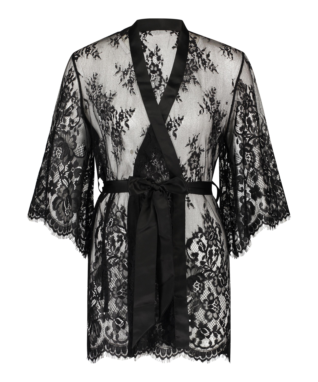 Isabelle Lace Kimono, Black, main