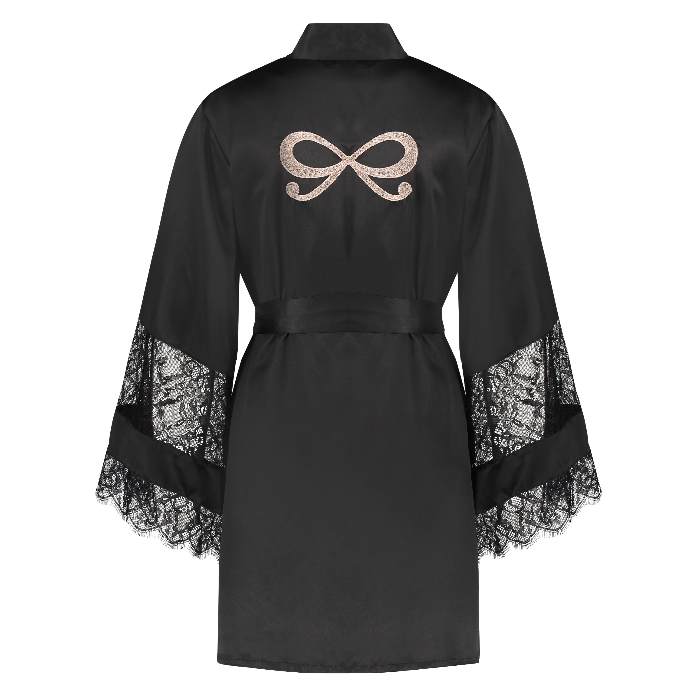 Satin Lace Kimono, Black, main