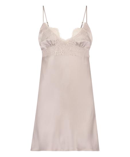 Silk Lace Slip Dress, Pink