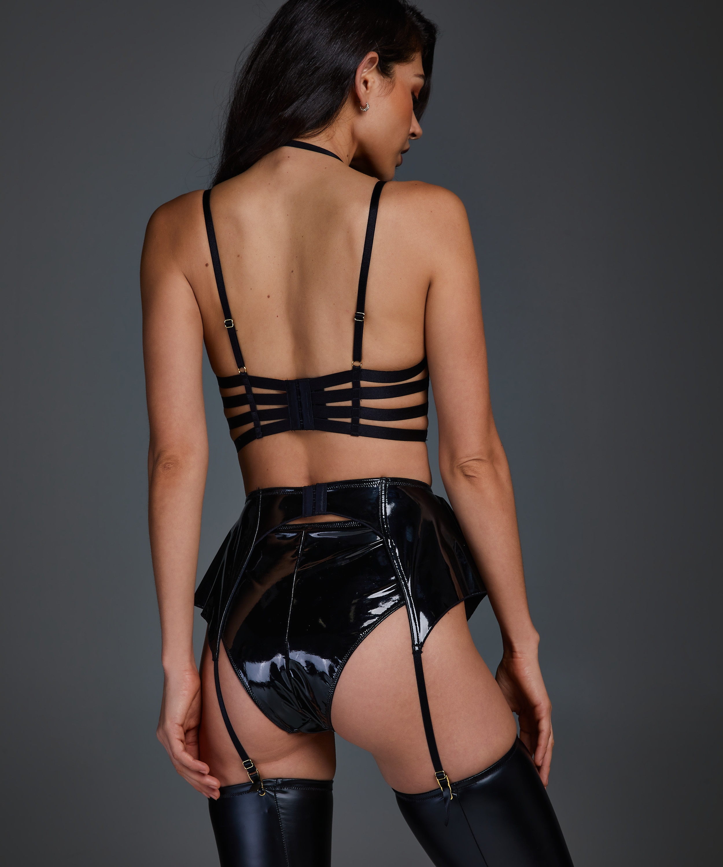 Wet Look Suspenders, Black, main