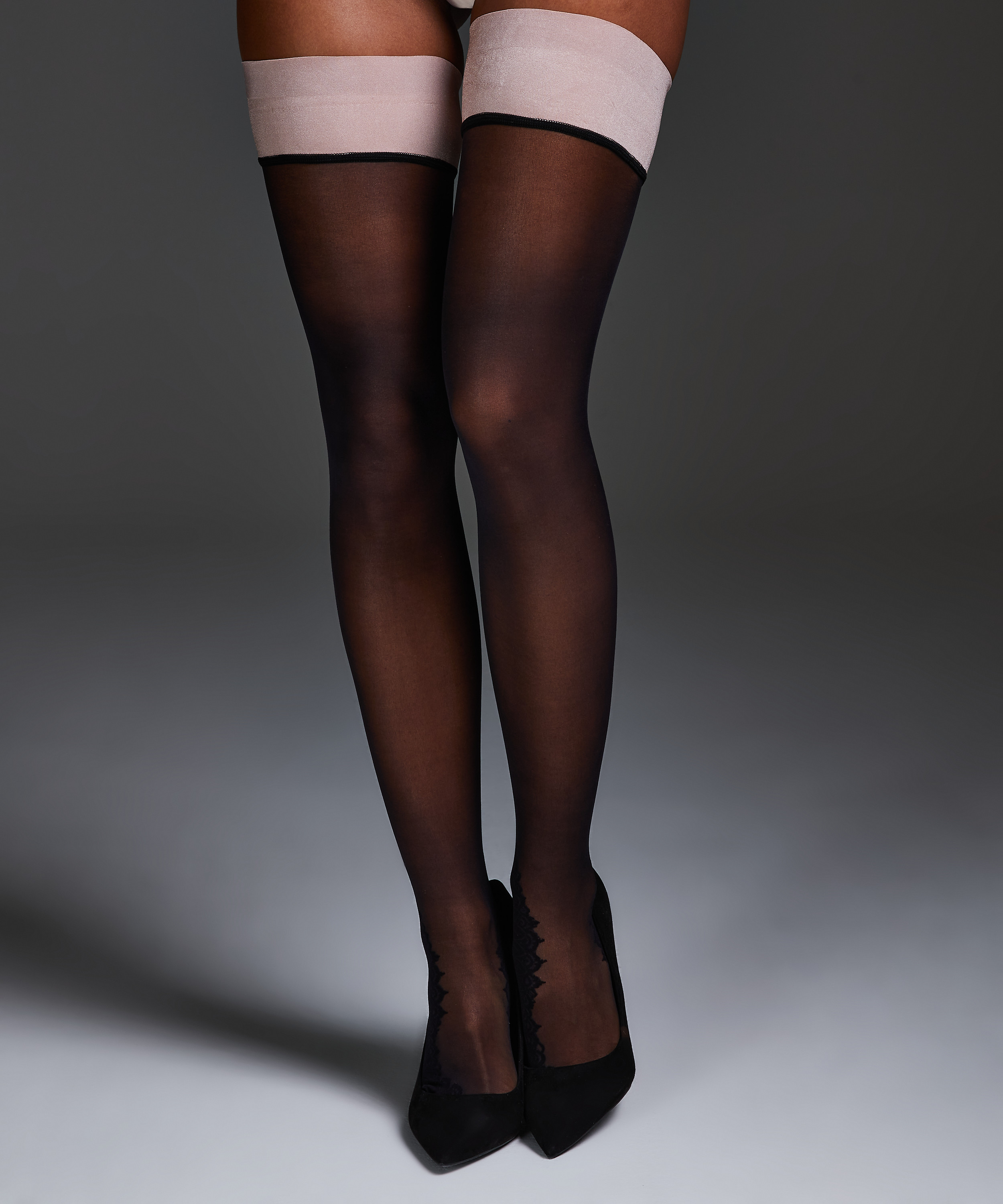 Noir Stay-up Delicate Lace, Pink, main