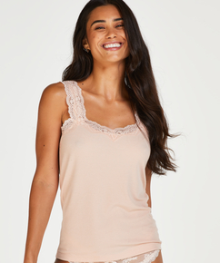 Ribbed Lace Singlet, Beige