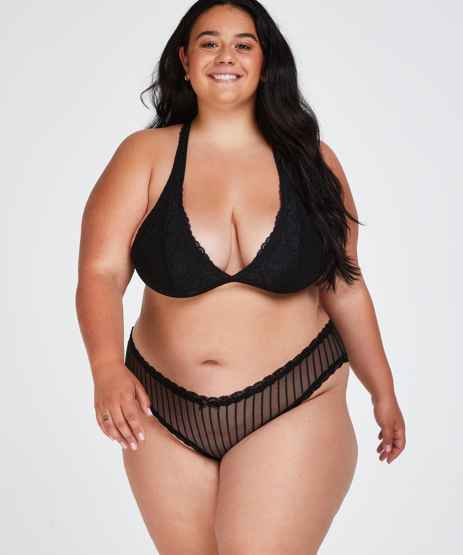V-shaped Brazilian knickers mesh, Black, main