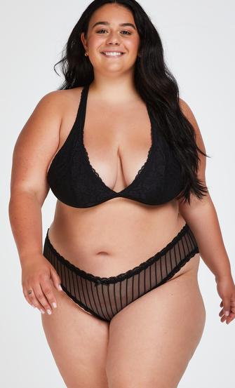 V-shaped Brazilian knickers mesh, Black