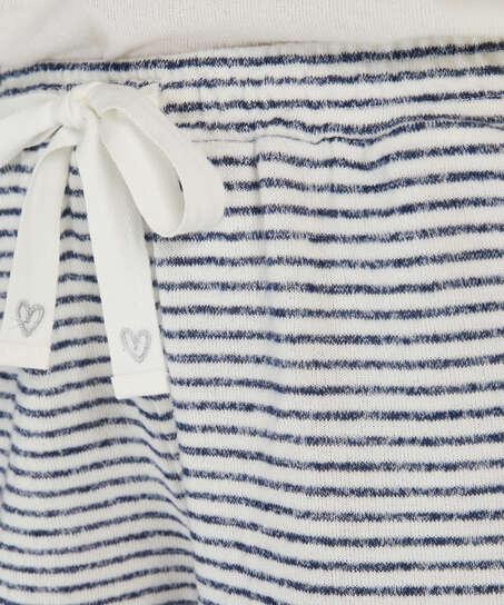 Brushed Stripe Short Pyjama Pants, Grey