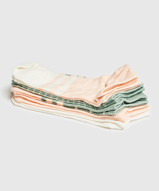 5 Pairs Trainer Liner Socks, White, main