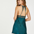 Satin lace slip dress, Blue