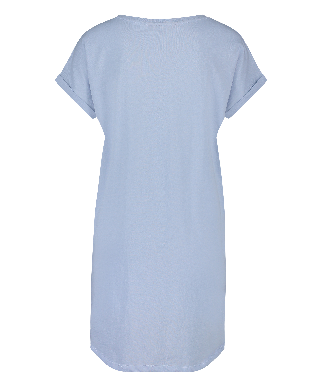 Round Neck Nightshirt, Blue, main