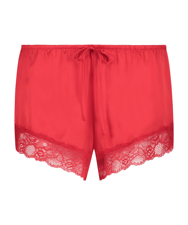 Satin pyjama shorts, Red, main